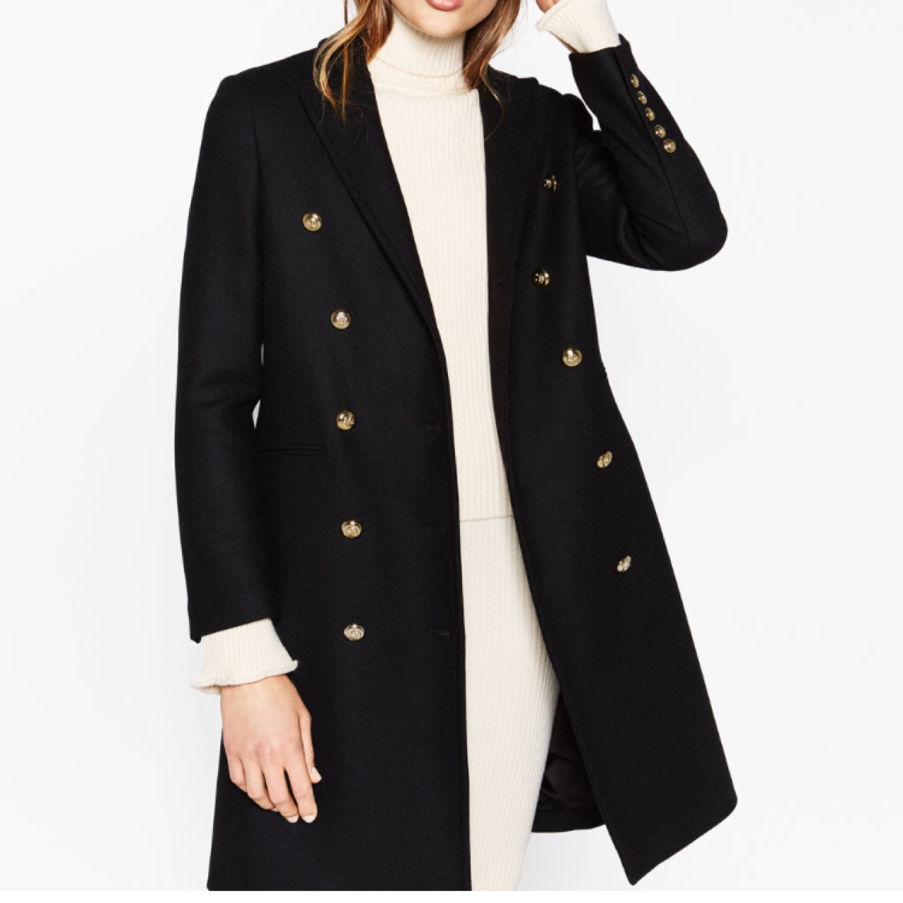 Zara military coat with gold buttons  Worn a few    - Depop