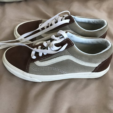 06de02a683 adorable brown and tan beige classic vans with the white of - Depop