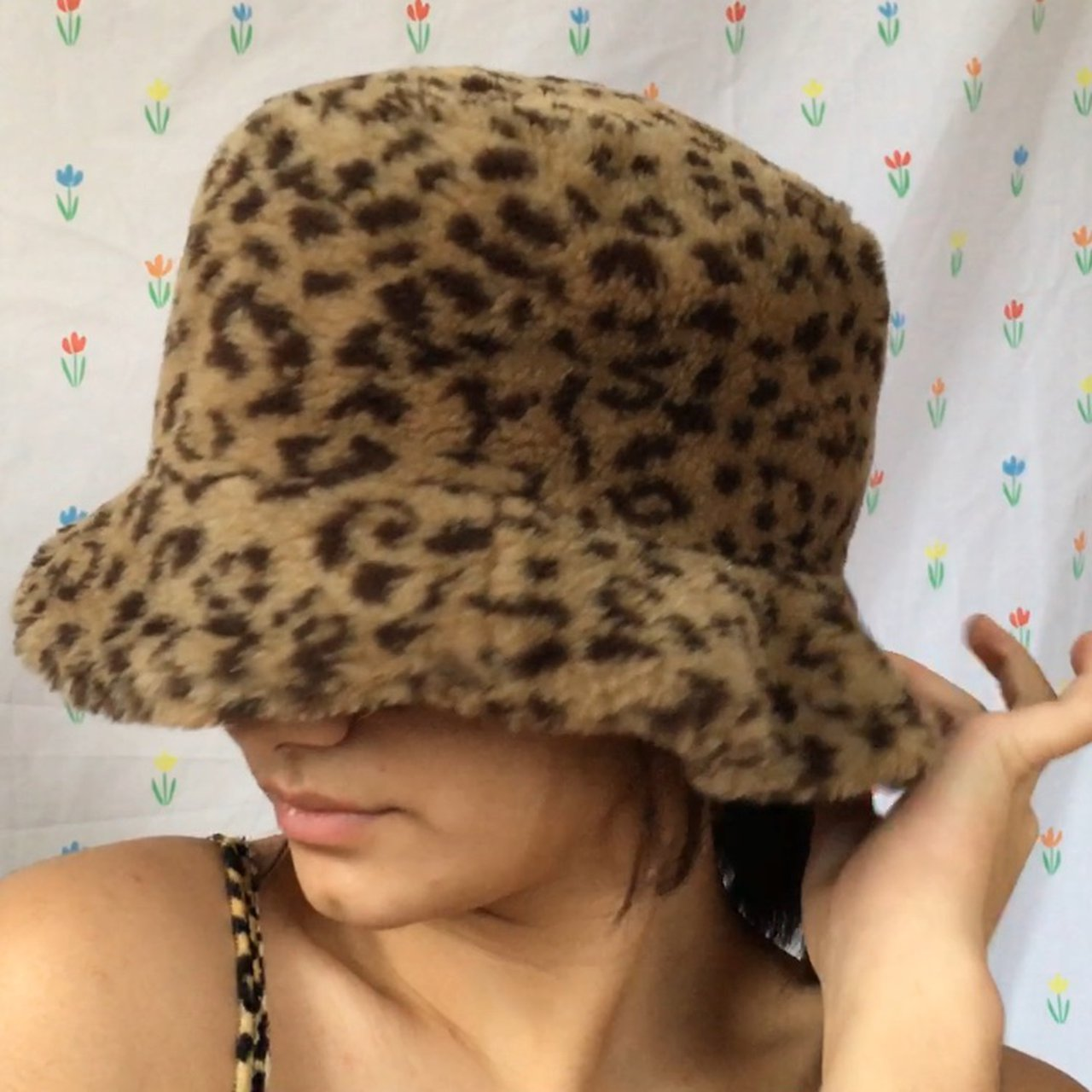 fuzzy leopard bucket hat!! Does it get much better than and - Depop f17d5803742