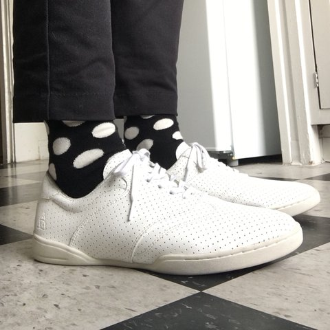 6218c5429f72 huf dylan rieder white perforated leather skate shoes. i a i - Depop