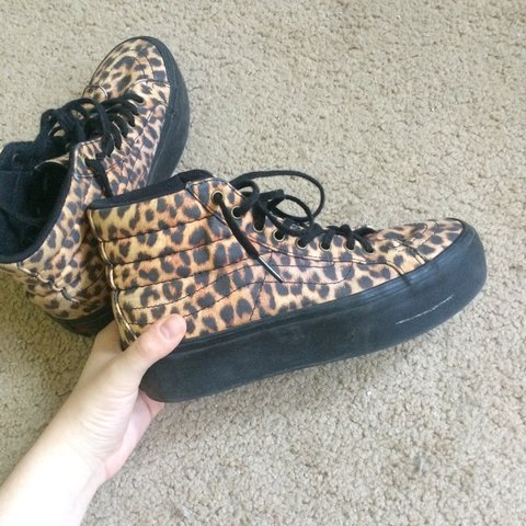 fbd08f5300f5b1 Platform leopard print vans. Bought these and they re a bit - Depop