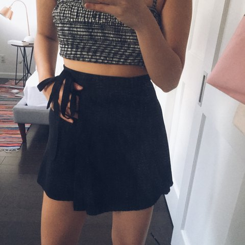 20f2062d8a 🖤 Brandy melville genevieve wrap skirt in black, such an 🖤 - Depop