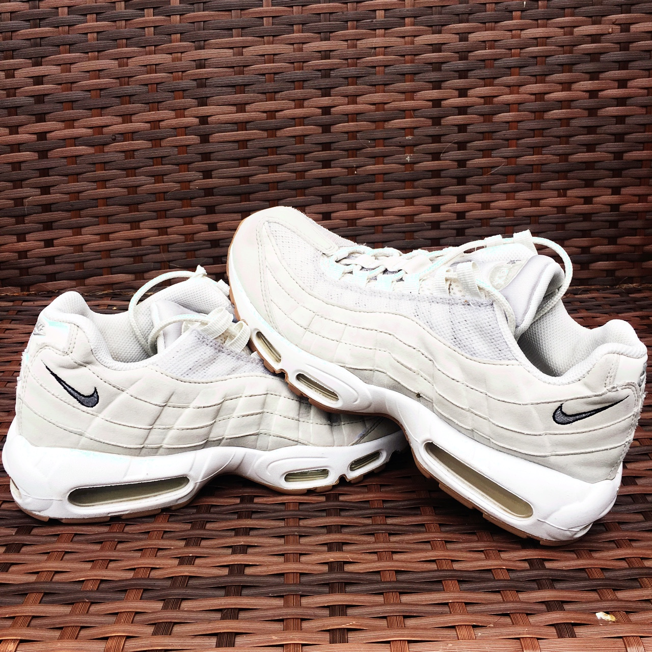 on sale fd523 a0b06 Nike air max 95s. Size 8. Cream suede and white... - Depop