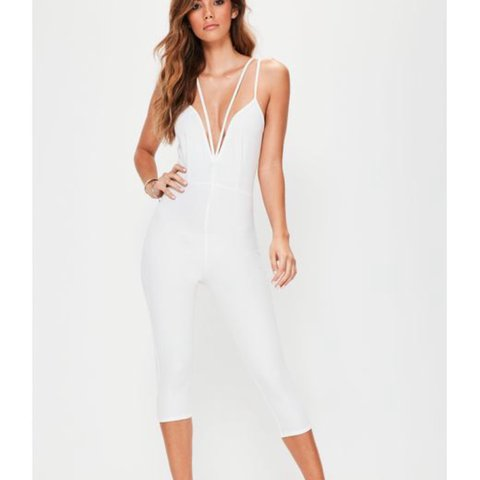 6b5f16254f6a Missguided white plunge 3 4 length jumpsuit - size 6 but a - Depop