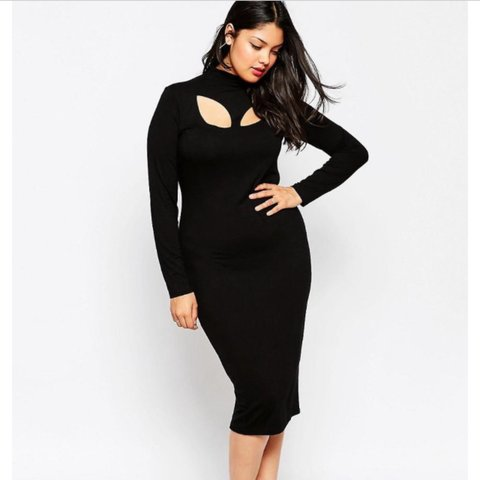 Asos Bodycon plus size Dress With High Neck & Cut Out Neck - Depop