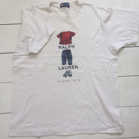 78a55ab3029 Vintage Ralph Lauren chaps off white  cream t shirt‼ and so - Depop