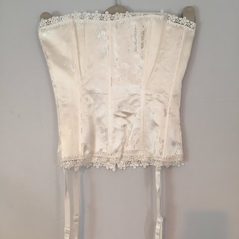 6433821d1c Brand new white Satin and lace  corset. Class closure to the - Depop