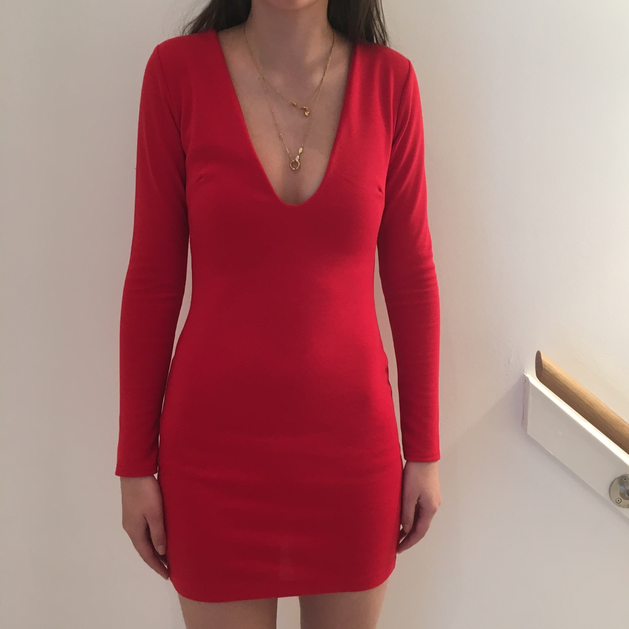 f4ed09906d9a Red missguided bodycon long sleeve plunge dress. - Depop