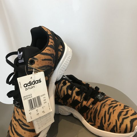 6f0e594c0152 Brand new with tags pair of  Adidas  ZX  Flux  Tiger  print - Depop