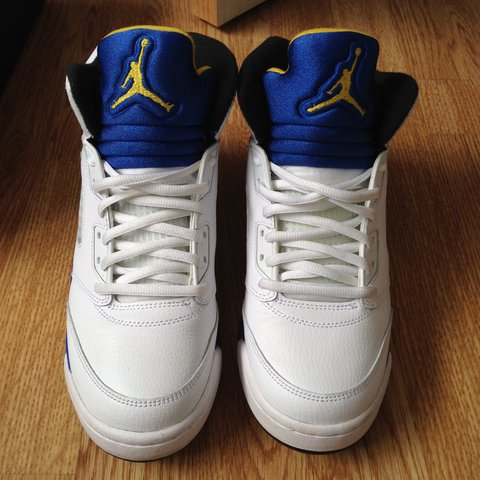 e0a07c8156d136 Nike Air Jordans Retro 5. White with blue and yellow In in - - Depop
