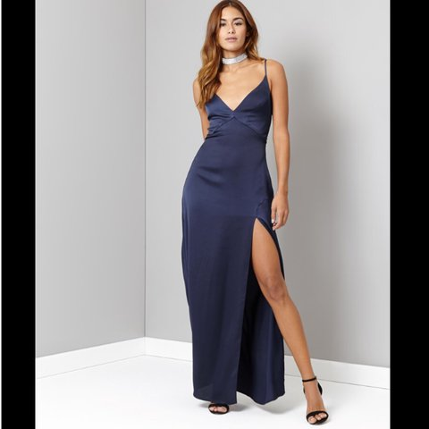 e2c67a0c8afa @yddah. 2 years ago. Swanley, UK. Lipsy Navy Satin Side Split Maxi Dress |  UK Size 10 | Only worn once ...