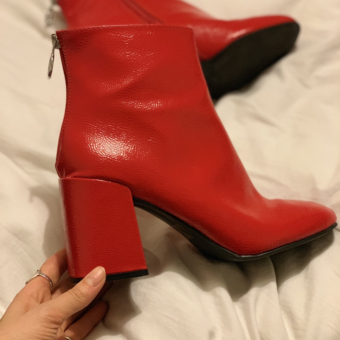 bright red patent boohoo ankle boots