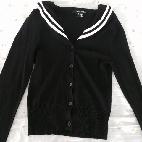 9a30f48ccd Super cute black sailor cardigan with collar and back flap! - Depop