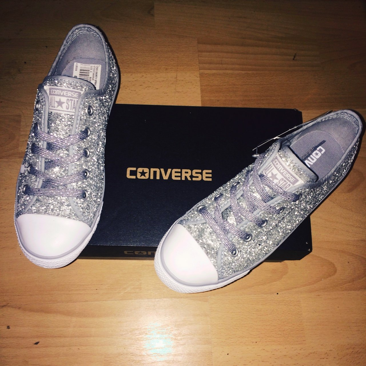 Brand New Silver Sparkly Converse Size 4. Originally bought - Depop 785a9ad357