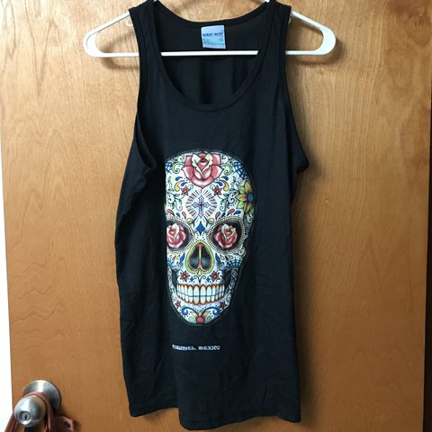 Black Sugar Skull Tank Top From Cozumel Mexico Never Worn Depop