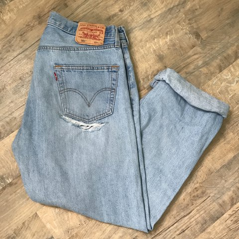 00072d30a36e7 @joshydp. last year. Stratford-upon-Avon, United Kingdom. Vintage  distressed Levi 501 jeans in the best shade of blue, paint marks ...