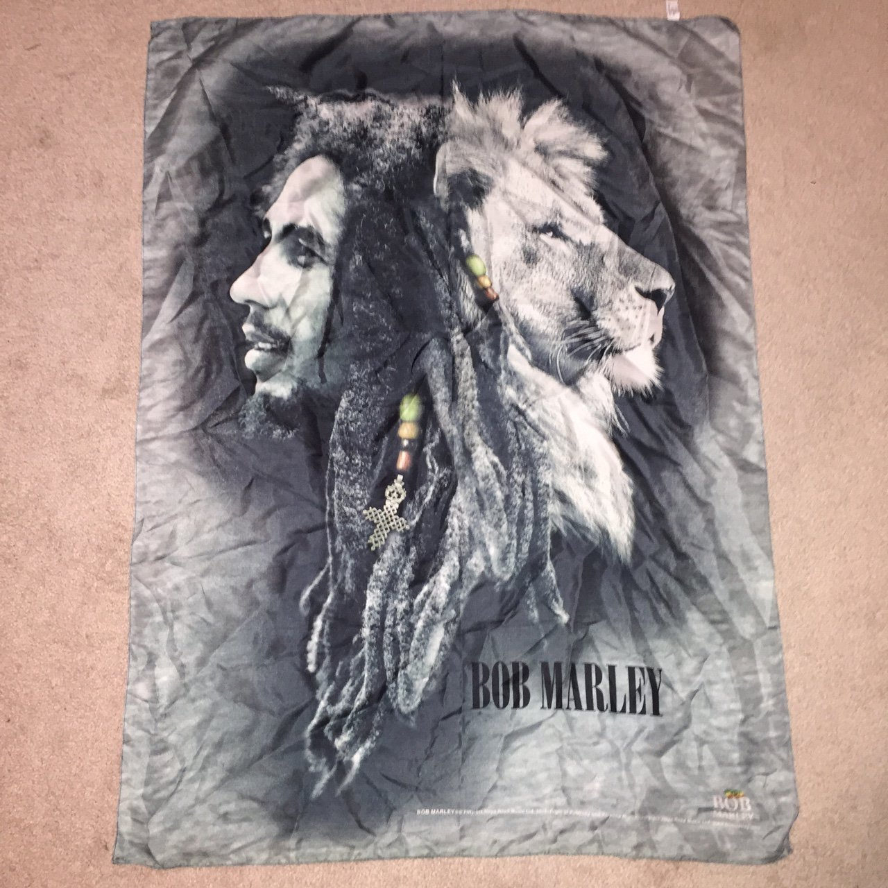 Beautiful Bob Marley Lion Cloth Poster Great For Any Music Depop