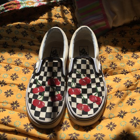 b30b3948a7 HAND PAINTED CHERRY CHECKERED SLIP ON VANS. I love these but - Depop