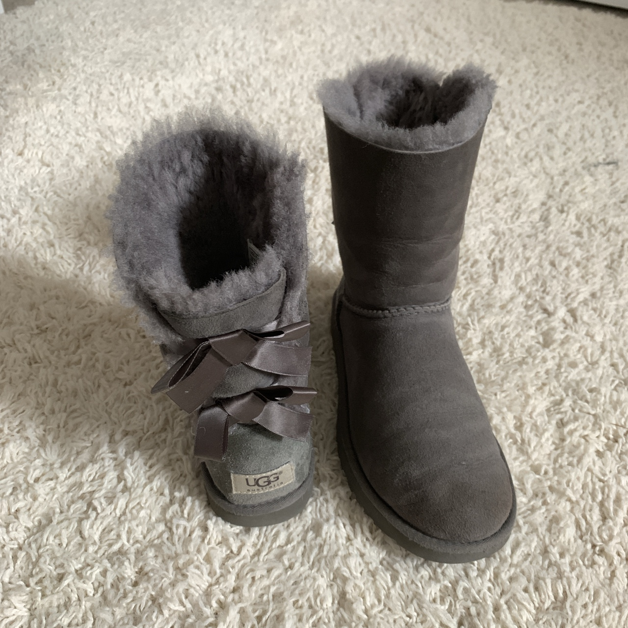adb93d0b707 Grey Bailey Bow UGG Boots Women's Size 7 (Fits Size... - Depop