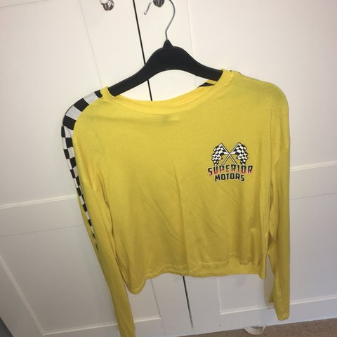 ade424f71c94bb h m long-sleeved top. size s ignore  handm  yellow  cute - Depop