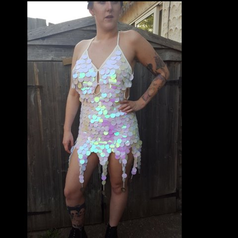 4384792e5f3 white and pink iridescent unicorn sequin dress! Absolutely - Depop