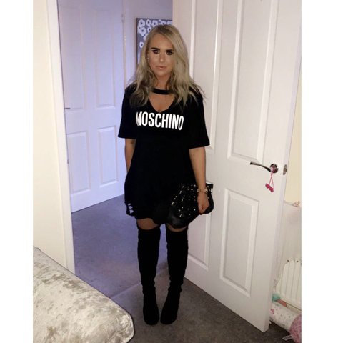 ad6ed82a385c Made by Junk Love - Moschino Black oversized Choker Tshirt - Depop