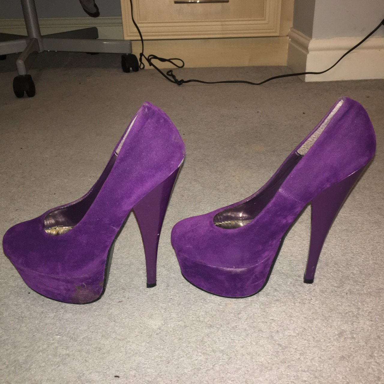 fb99b9520fc Purple velvet suede heels. Very high but platform for 😀 for - Depop