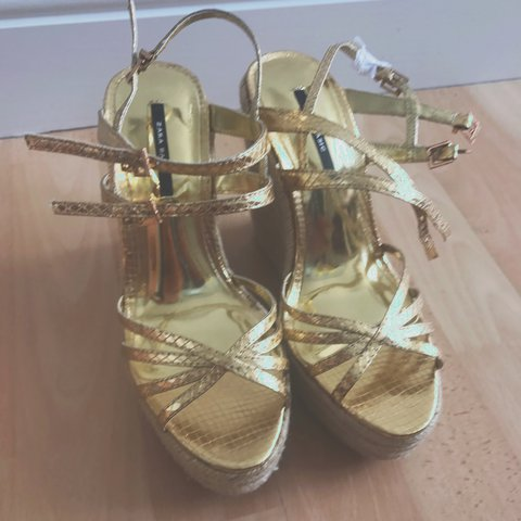 d2ae591e247e Zara gold wedges size 3 new with tags  zara  holiday asos - Depop