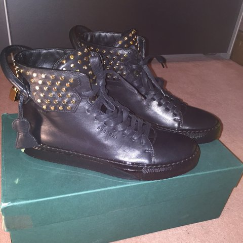 360aa502537 Mens original Buscemi high top trainers in black with gold 6 - Depop