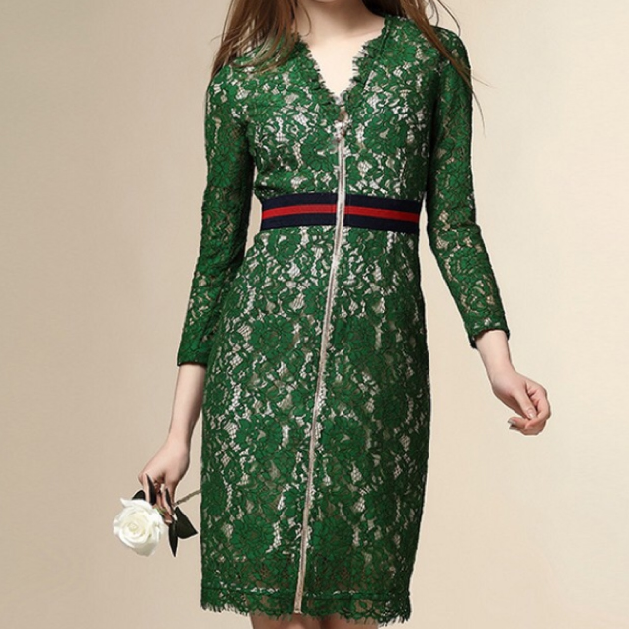Gucci Style Green Lace Dress Navy And Red Waist Depop