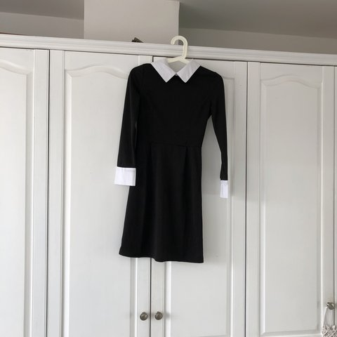 Asos Size Small Black Dress With White Peter Pan Collar So Depop