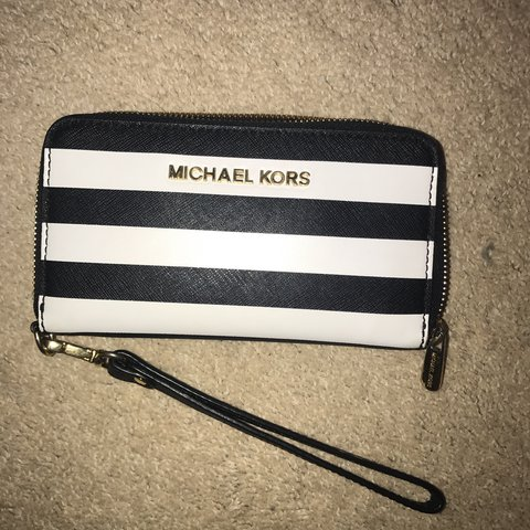 41030b203517 REDUCED PRICE. Black and white striped Michael Kors purse. a - Depop