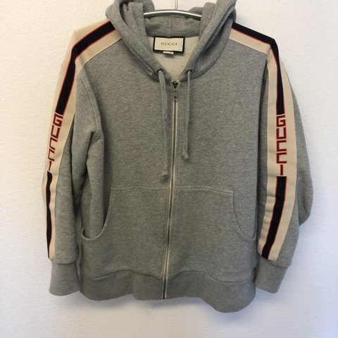 d419612b8a3 Gucci hooded zip-up sweatshirt with Gucci-stripes. Cond. a - Depop