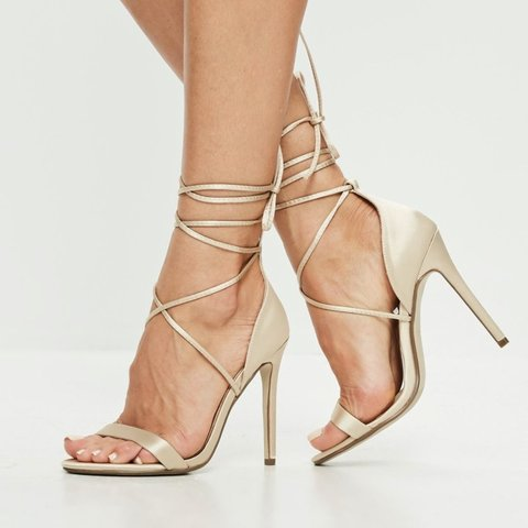 3deb11bed0c missguided gold lace up heels size 5