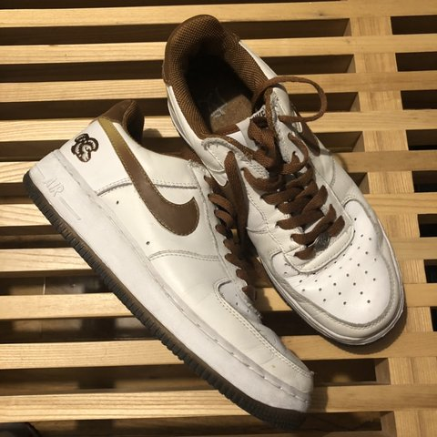 b2ac319b1eeb Nike Air Force 1 Year of the Monkey Brown White Worn UK7.5 - Depop