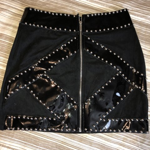 946e175340 @katyalicexx. 11 days ago. Hyde, United Kingdom. Missguided suede studded  skirt. Size 12. Good condition. Hardly been worn!