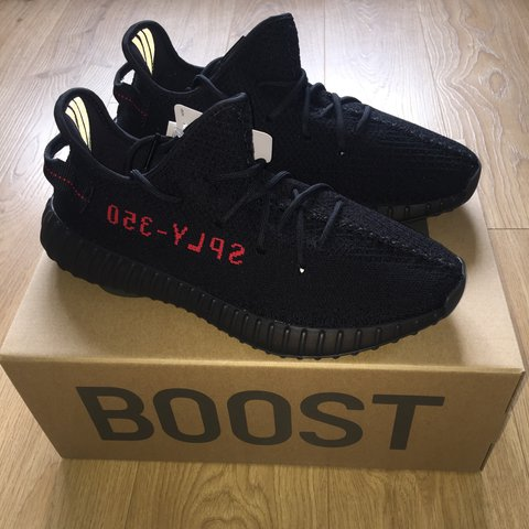 7ca333d4907 Adidas Yeezy boost 350 v2 with original box black and red   - Depop