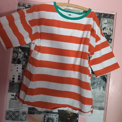 893ccdfc77c63 ☆•.  orange and white striped tee w  teal ringer . •☆ i got - Depop