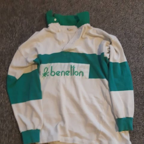 f515a3834a0 Vintage 80s casuals benetton rugby shirt great vintage price - Depop