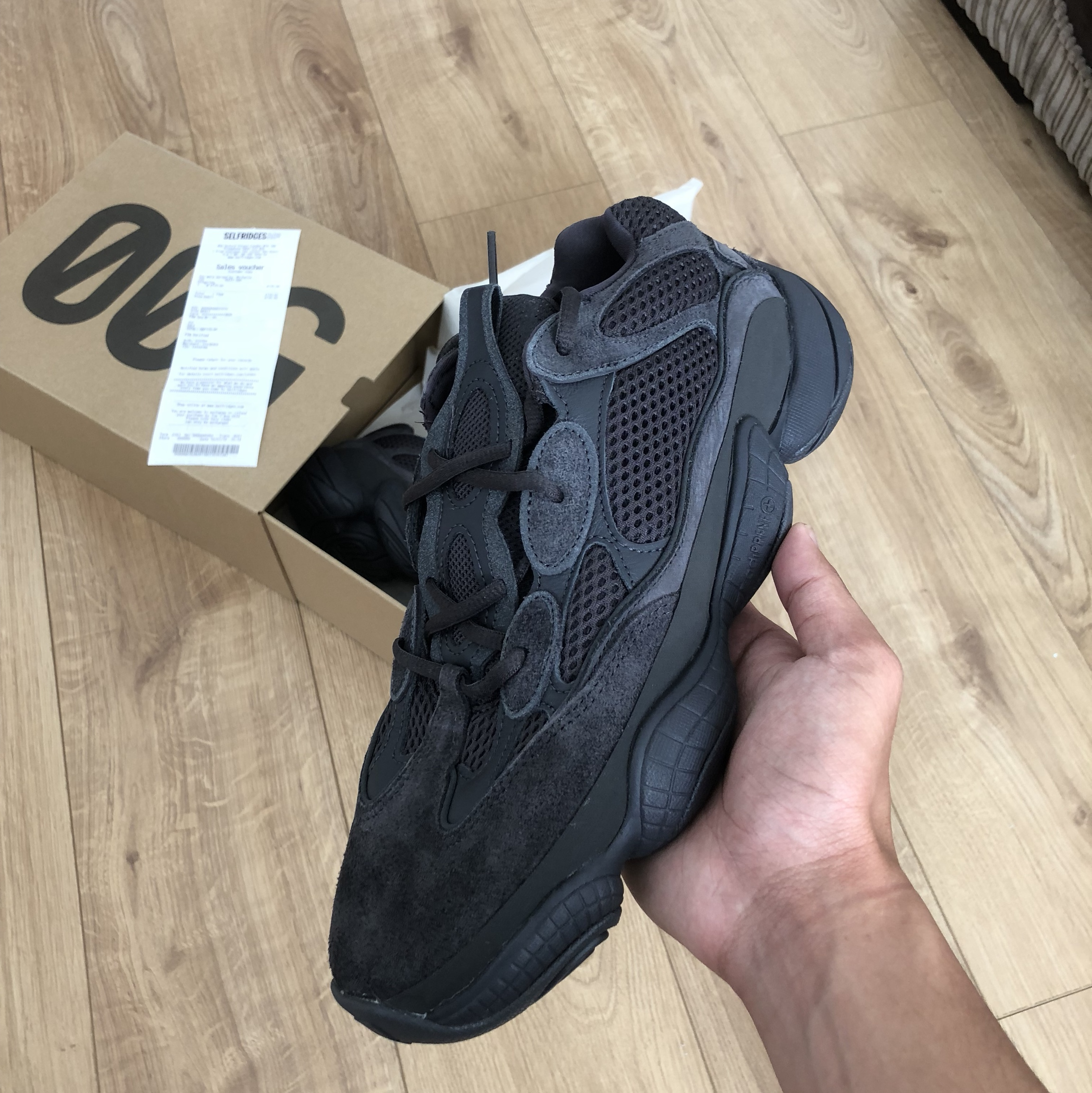 low priced d60b1 84d1c Adidas Yeezy 500 black UK 9. London meets and can... - Depop