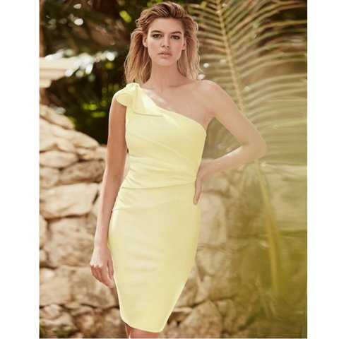 291b8896025 LIPSY yellow bow detail one shoulder bodycon dress - current - Depop