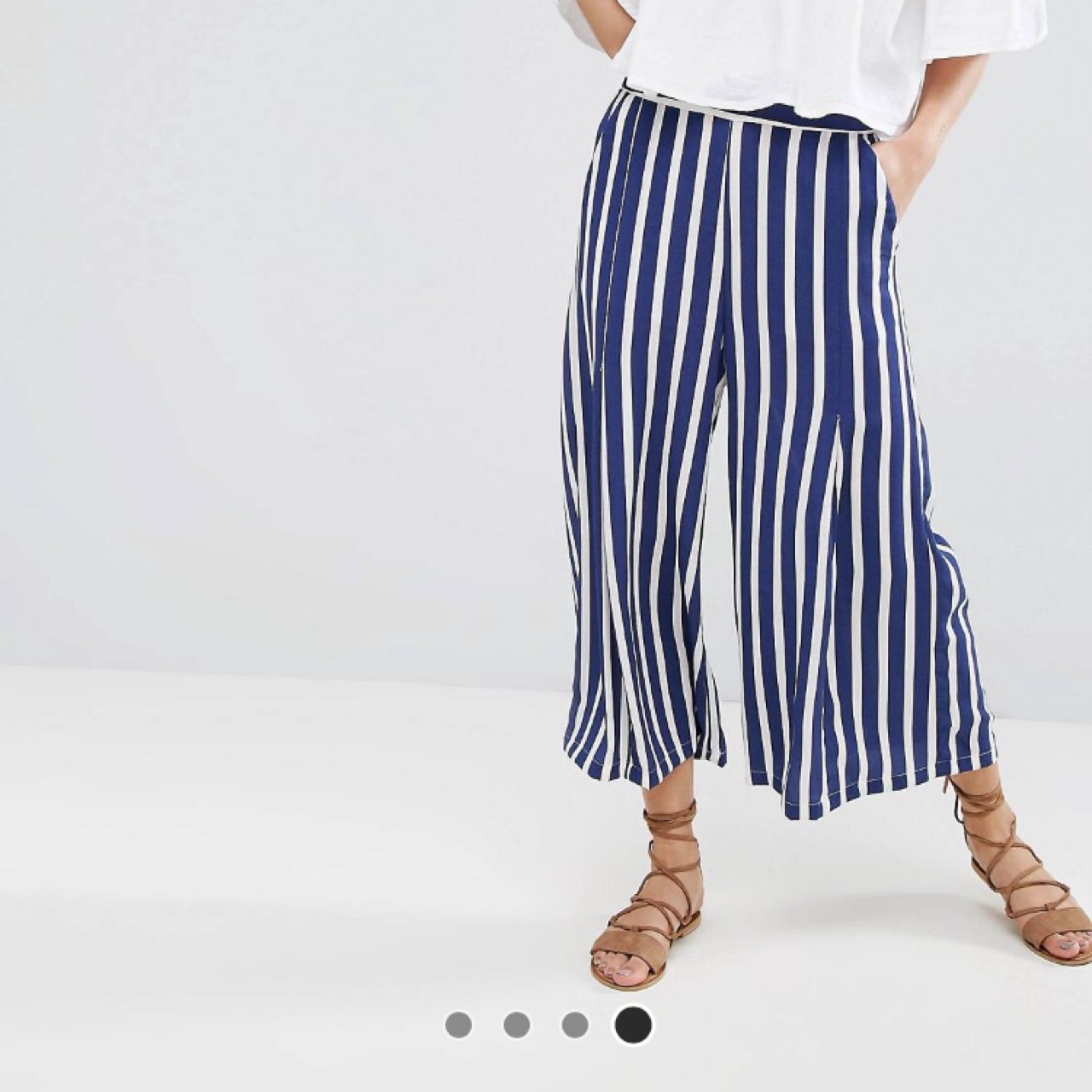 good vast selection the best attitude Mango stripe blue and white wide leg trousers SIZE 8... - Depop