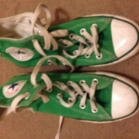 57207aae9e03 Size 5 green high top converse. Slightly scuffed but lots of - Depop