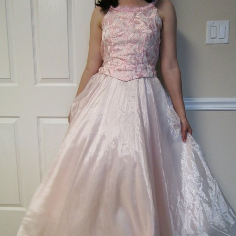 95bb47c3d12 Pale pink prom dress with embroidered bodice