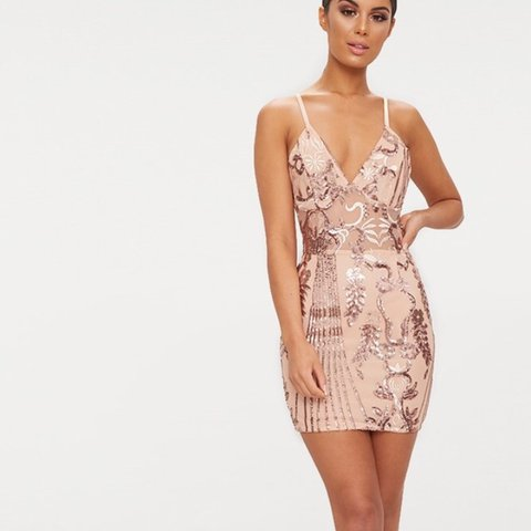 98655c71 @aimeejacques10. last year. Southport, United Kingdom. Rose gold strappy  sheer panel sequin bodycon dress ...