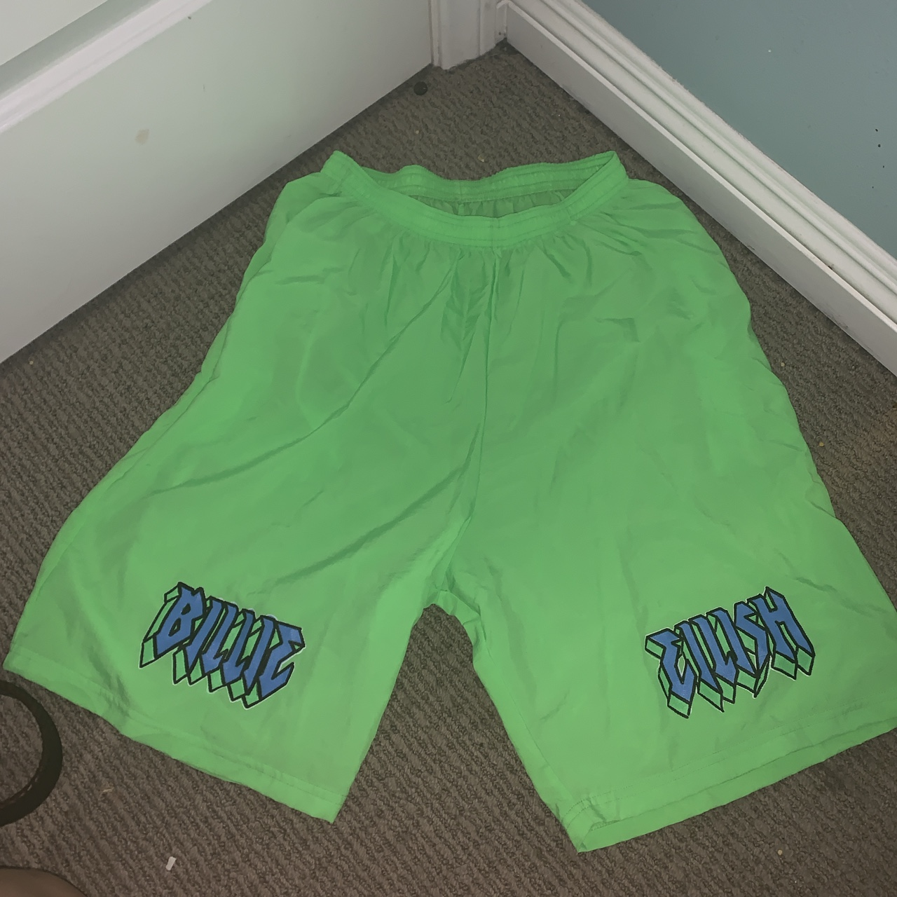 Billie Eilish Neon Green Blohsh Shorts Xl Elastic Depop