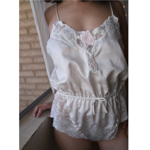 995ddb1aa Vintage Babydoll lingerie romper Silky white with Pastel on - Depop