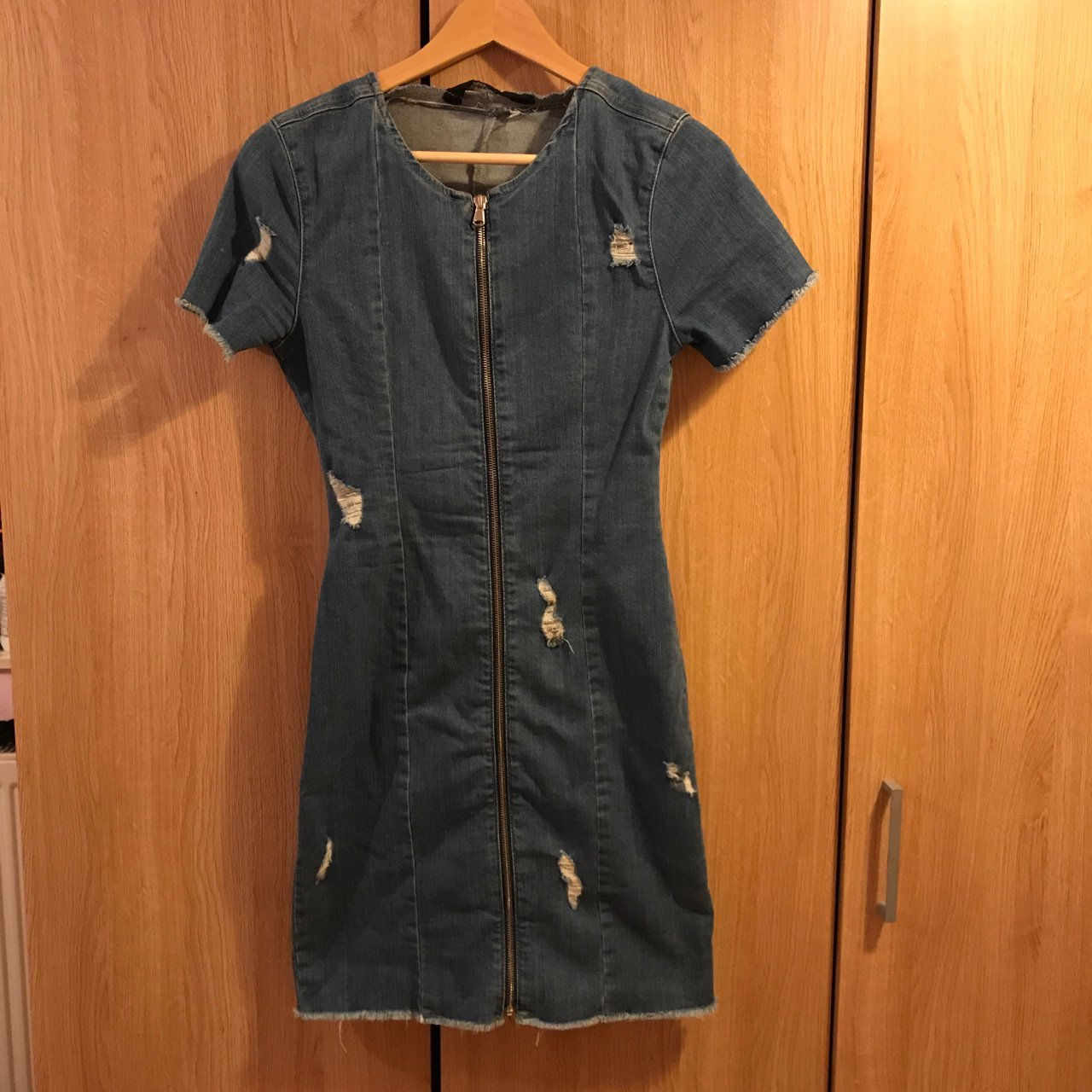 f9cdbd4835 Distressed denim zip up dress from Missguided. Amazing for a - Depop