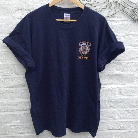 cee9580b6 @hazeloguz. 4 years ago. Norwich, Norwich, Norfolk, UK. Vintage NYPD tshirt  top. Navy blue with New York Police Department badge ...