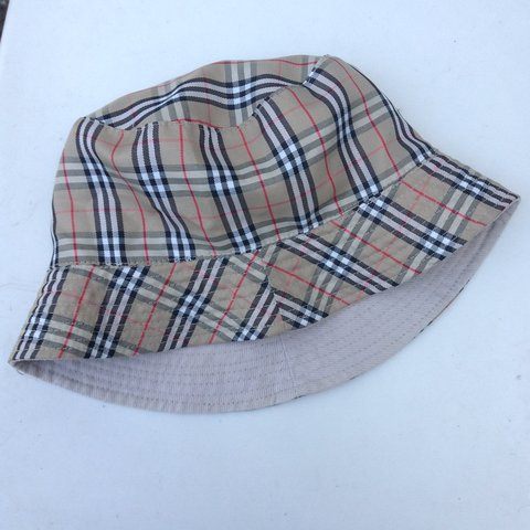 959ab218fe160 Vintage nova check bucket hat. Retro 90s. Beige with red and - Depop
